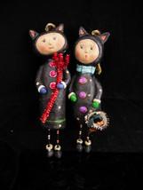 Devil and Angel Christmas Ornaments / Whimsical folk art dolls / hallowe... - $95.00