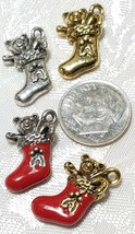CHRISTMAS STOCKING FINE PEWTER PENDANT CHARM - 12mm L x 22mm W x 6mm D image 2