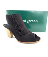 New PAUL GREEN Size 7.5 SABRINA Black Leather Open Toe Bootie Heels Shoe... - $179.00