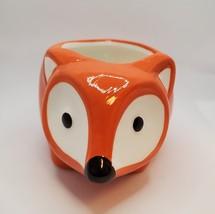 "Ceramic Animal Planter, 5"" Orange Flora the Fox Pot for succulents plants image 3"