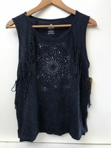 AE American Eagle Outfitters XS Blue Tank Top Shirt Star Print Fringed NWT - $16.95