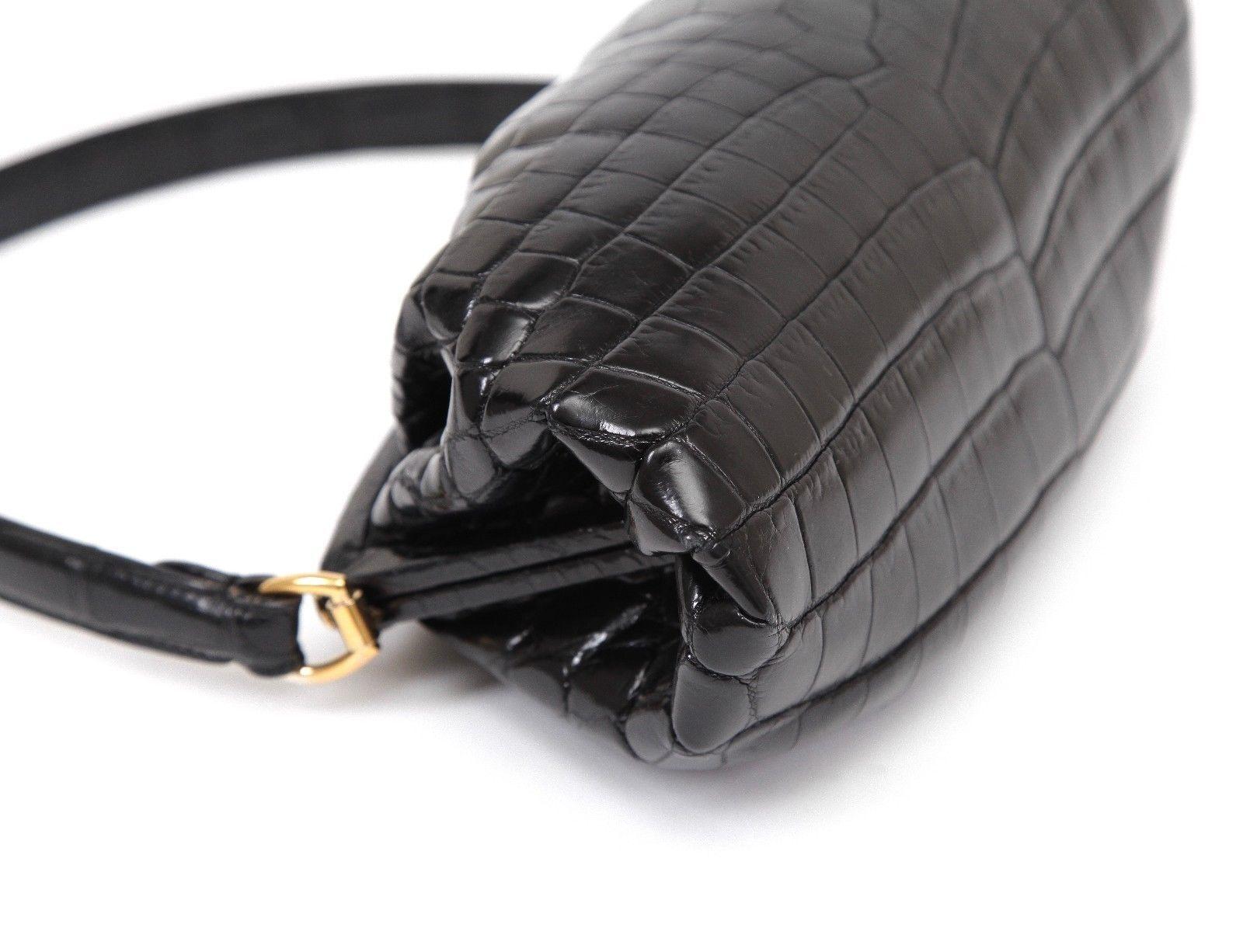 RALPH LAUREN COLLECTION Bag Black Alligator Pochette Leather Shoulder Red  Lining 543690c34df3a