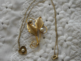 Pearl Pin Loran Sim 1/20th 12K GF Leaf & Pearl Heart Necklace dce 1/20th... - $18.95