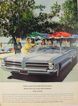 1965 Pontiac CATALINA Convertible blue Seaside artwork Print ad - $9.99