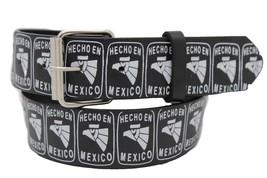 Men Women Hip Waist Silver Metal Buckle Black Belt White Mexico Eagle Hecho En S - $11.75