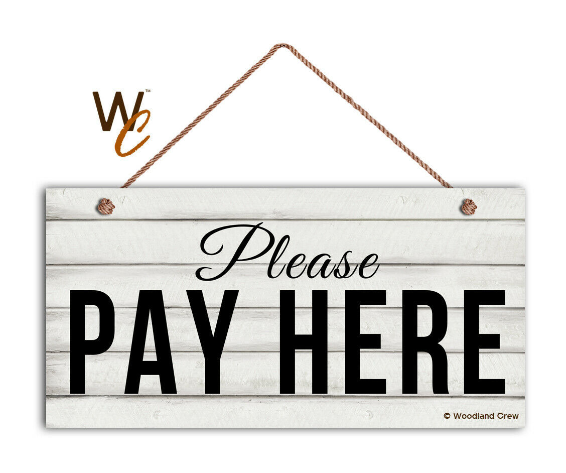 Please Pay Here Sign, Restaurant 5 x 10 Wood Sign, Cashier and Store Sign, Cafe