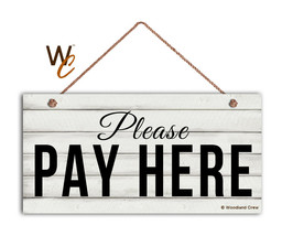 Please Pay Here Sign, Restaurant 5 x 10 Wood Sign, Cashier and Store Sig... - $11.39