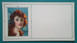 PINUP GIRL Red Hair Beauty Red Lipstick - Est 1920s INK BLOTTER - $8.55