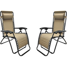 Set of 2 Beige Zero Gravity Lounge Chairs Recliner Outdoor Tailgating CHEAP - $109.99