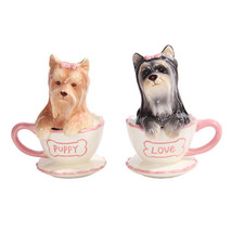 Yorkie Puppies Tea Cup Ceramic Salt and Pepper Shaker Set Kitchen Decor - $12.86