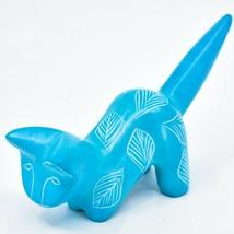 Tabaka Chigware Hand Carved Kisii Soapstone Sky Blue Pouncing Kitten Cat Figure image 2
