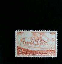 1954 3c Kansas Territorial Centennial, Wagon & Horse Scott 1061 Mint F/V... - $0.99