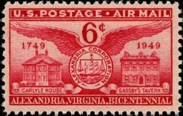 1949 6c Alexandria Bicentennial, Virginia Scott C40 Mint F/VF NH - $0.99