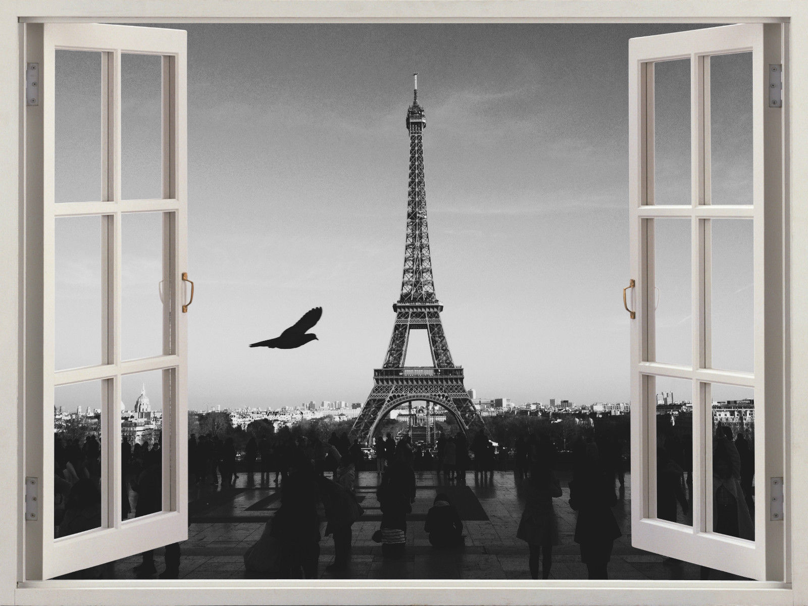 Wall decal 3d window pairs eiffel tower black and white for Eiffel tower wall mural black and white