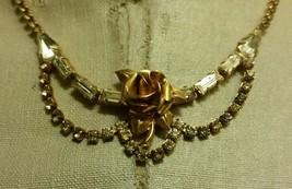 Vintage Taylor Maid Gold & Rhinestone Flower Necklace Philadelphia Origi... - $99.99