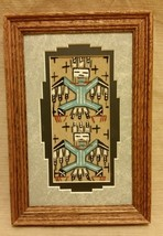 Navajo Sand Painting by Marlene Doby Matted & Framed Authentic COA Teal ... - $49.99