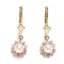 Women/Children's Stylish 14K Solid YG Genuine White Pearl Dangle Earrings - $95.48