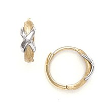 Women/Children's 14K Solid Two Tone Italian Gold Huggies with X Hoop Earrings - $74.24