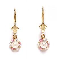 Women/Children's Stylish 14K Yellow Gold Genuine White Pearl Dangle Earrings - $82.57
