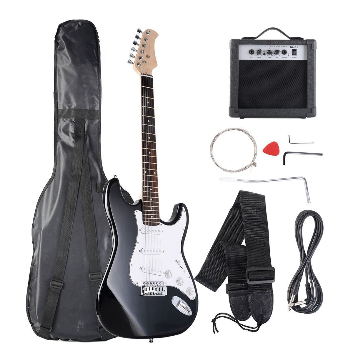 black white full size electric guitar 10w amp cord strap gigbag set new electric guitar. Black Bedroom Furniture Sets. Home Design Ideas
