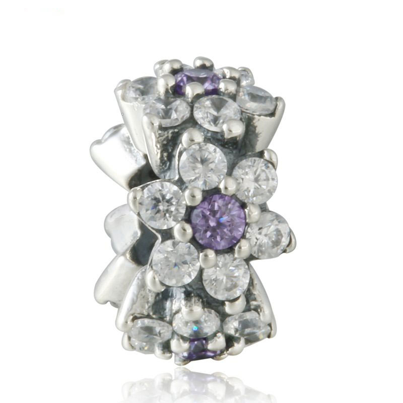 925 Sterling Silver Forget Me Not Spacer with Purple Cz Charm Bead QJCB850