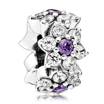 925 Sterling Silver Forget Me Not Spacer with Purple Cz Charm Bead QJCB850 - $19.86