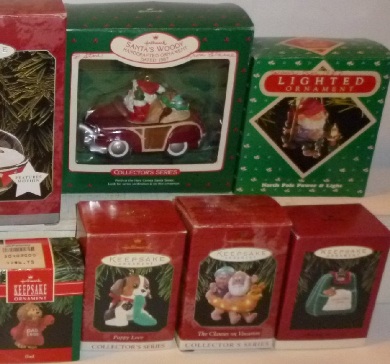Big Lot of 12 HALLMARK ORNAMENTS in boxes 1987 -2001 w/ Puppy Love Santa's Woody
