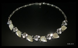 """LISNER Clear Rhinestones and Opaque Glass Fruit Cabochons Vintage NECKLACE - 16"""" - $105.00"""