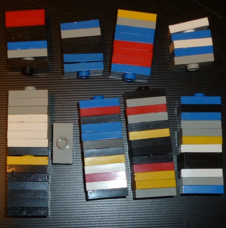 LEGO Parts lot of 79 Plate  1 x 2 with 1 stud mixed colors