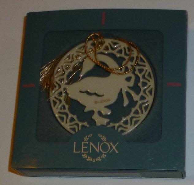 "LENOX Christmas Ornament YULETIDE GOOSE 2.25"" in box"