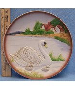 Homco Porcelain Decorative Plate Mother Swan & 2 Babies Barn Lake Raised... - $11.28
