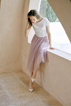 2020 Rose Pink Midi Tulle Skirt Outfit A-line Ballerina Skirt Plus Size WT12 image 3