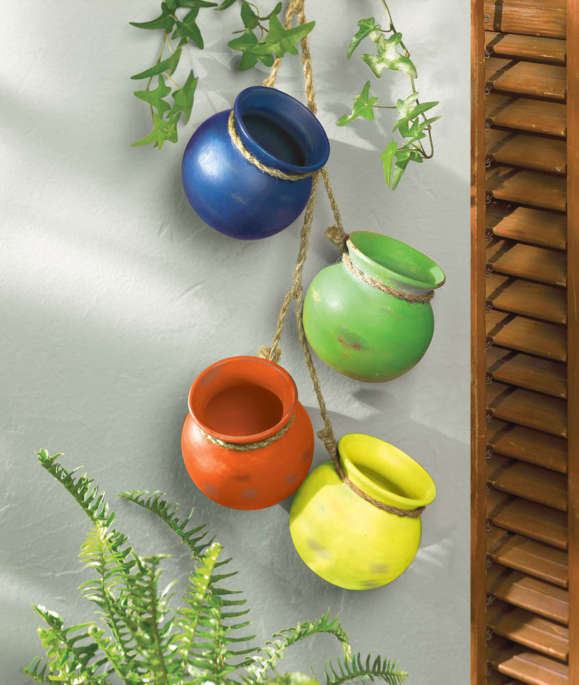 Primary image for Fiesta Colorful Hanging Terre Cotta Pots Use Indoors or Outdoors