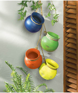 Fiesta Colorful Hanging Terre Cotta Pots Use Indoors or Outdoors - £19.05 GBP