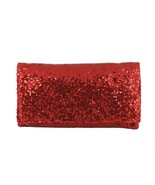 Loni Womens Sparkly Sequin Party Evening Clutch Shoulder Bag in Red - $29.69
