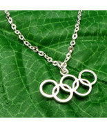 Handmade 925 Sterling Silver Olympic Rings 2016 Rio Necklace Pendant - S... - $42.00