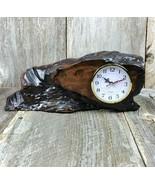 Redwood Shelf Clock Handmade Mantle Desk California Burl Wood Sitting Ta... - $83.99