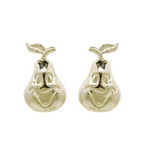 925 Sterling silver kids studs earring, smiling papaya design studs earring - $12.80