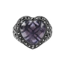 Aura 925 Sterling Silver Marcasite and Amethyst Gemstone Ring (MR01122I-... - £28.02 GBP