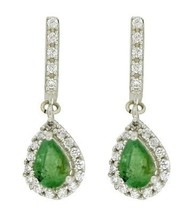 925 Sterling silver wedding earring shining emerald & cubic zirconia gem... - $28.97