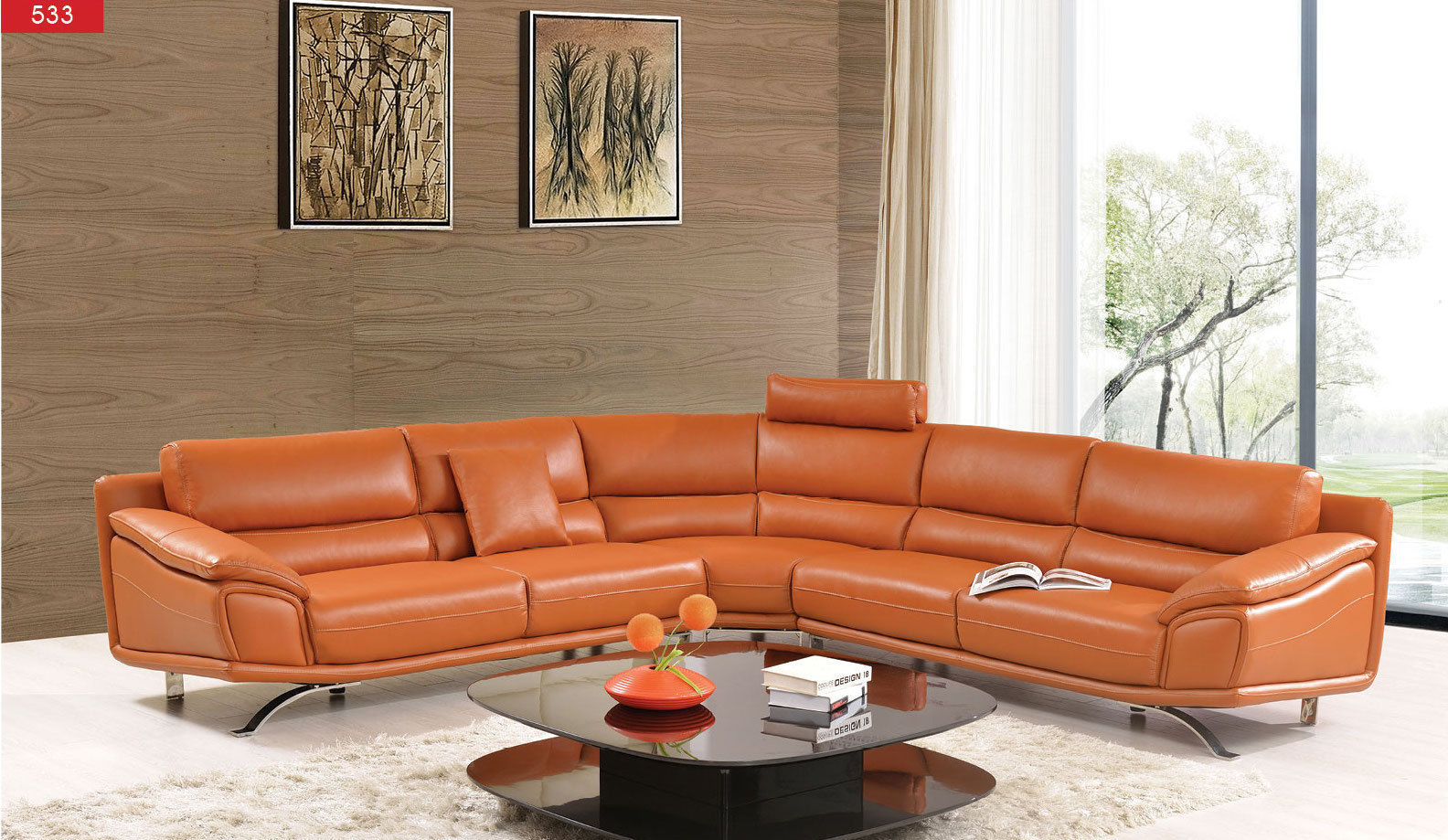 ESF 533  Leather Sectional Sofa Chic Contemporary Modern