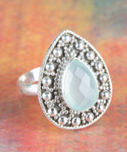 Healing Faceted Aqua Chalcedony Gemstone Silver Ring All size BJR-410-ACC - €9,31 EUR+