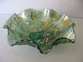Imperial Carnival Glass Helios Green Open Rose ... - $47.00
