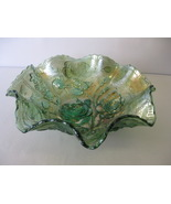 "Imperial Carnival Glass Helios Green Open Rose 8"" Bowl Made in USA - $47.00"