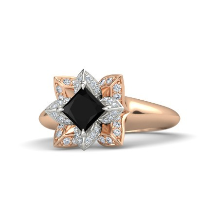 0 52ct princess cut black onyx 14k gold pl ring
