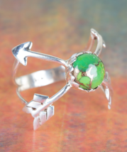 Wonderful Green Turquoise Gemstone Sterling Silver Ring All size BJR-411... - $10.99