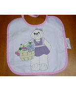 New Handcrafted baby Bib, Bear with Kitty Basket - $6.50