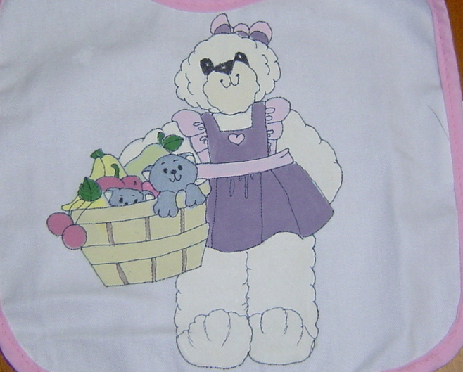 New Handcrafted baby Bib, Bear with Kitty Basket