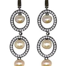 925 Sterling Bridal women earring solid fresh water pearl batti & CZ SHER0246 - $27.40