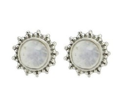 Gorgeous looking stud 925 sterling silver earring with rainbow moonstone SHER230 - $8.82